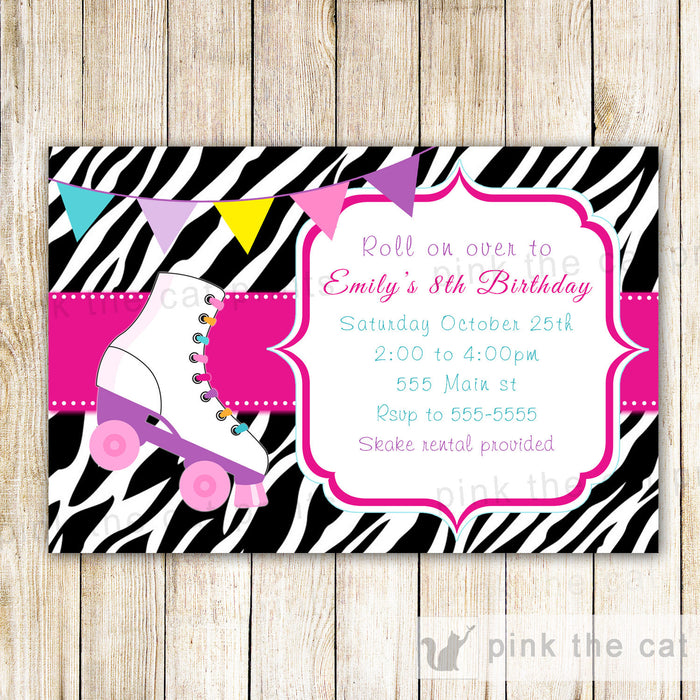 Roller Skating Invitation Girl Birthday