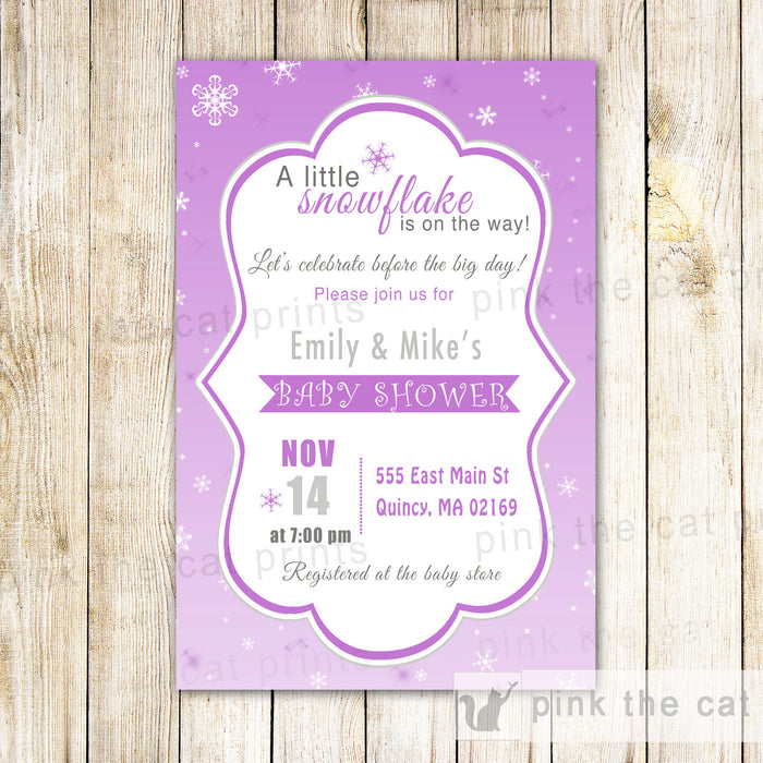 Snowflake Baby Girl Shower Invitation Purple Winter Wonderland