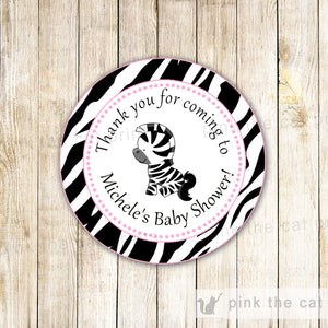 Zebra Favor Label Thank You Tag Sticker Birthday Baby Girl Shower Pink