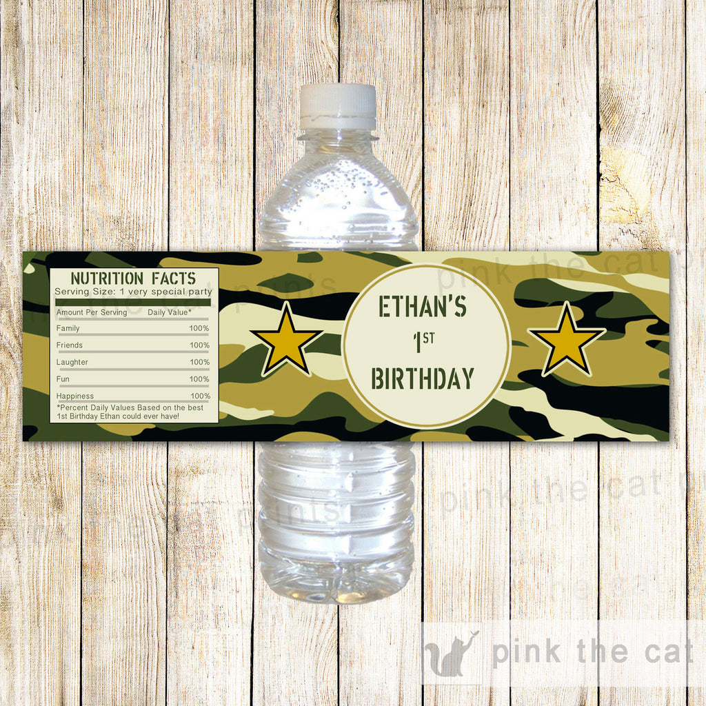 Army Bottle Label Birthday Boy Party