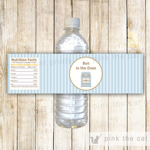 Bun In The Oven Baby Boy Shower Unisex Bottle Label Wrapper