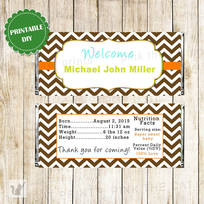 Candy Bar Wrapper Label Brown Orange Chevron
