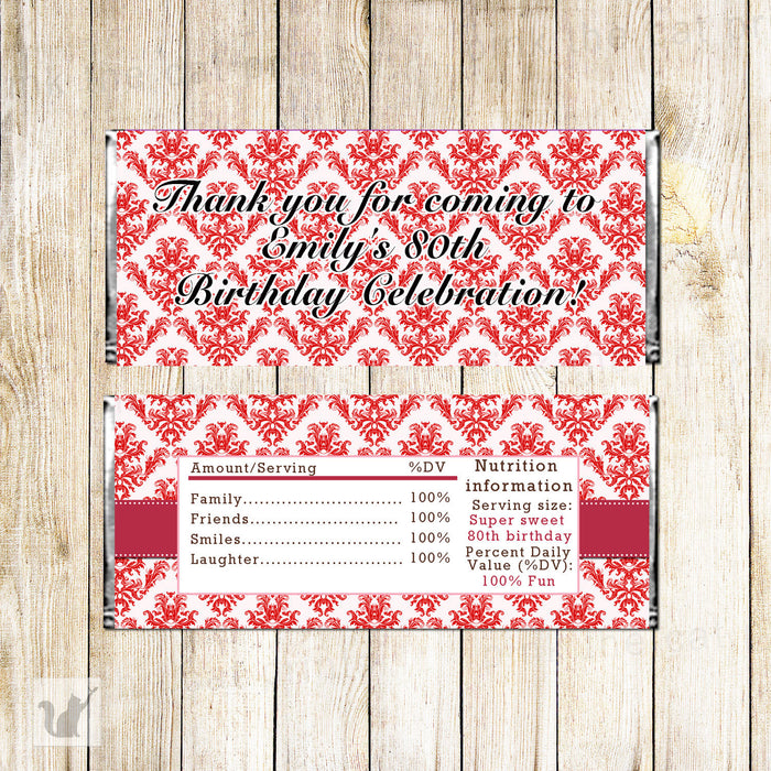 Red Damask 80th Adult Birthday Candy Bar Label Wrapper