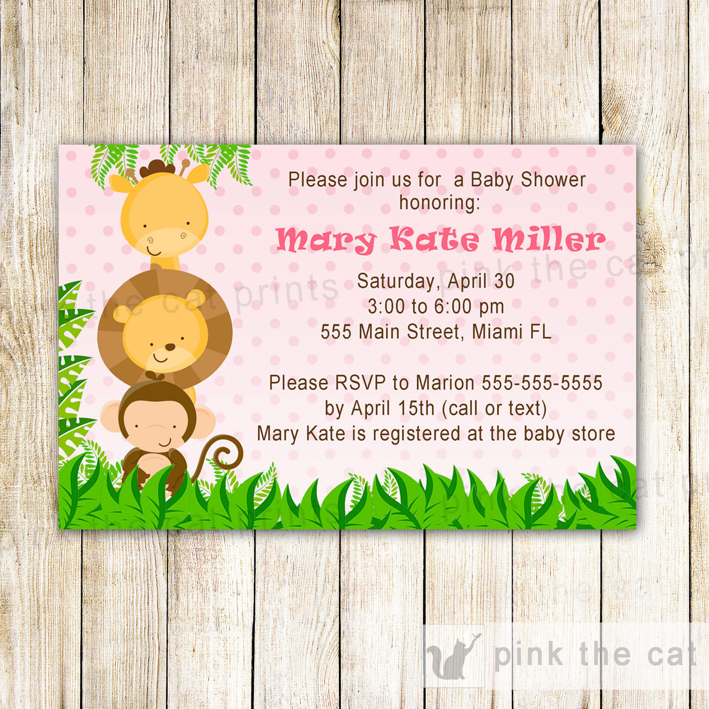jungle invitation baby girl shower pink pink the cat