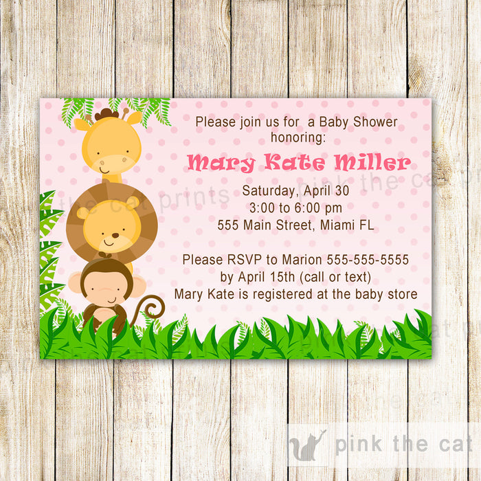 Jungle Invitation Baby Girl Shower Pink