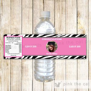 Graduation Party Bottle Label Pink Zebra