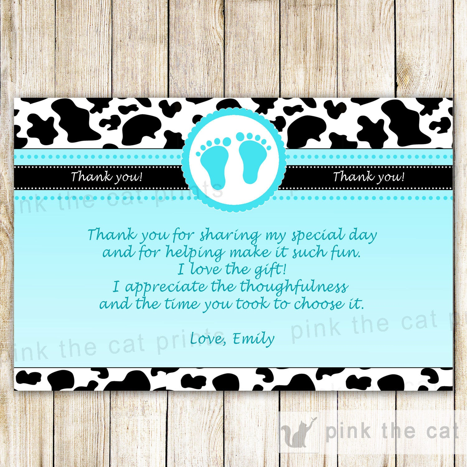 Cow Baby Boy Shower Thank You Card Note Turquoise Pink The Cat