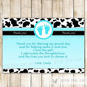 Cow Baby Boy Shower Thank You Card Note Turquoise