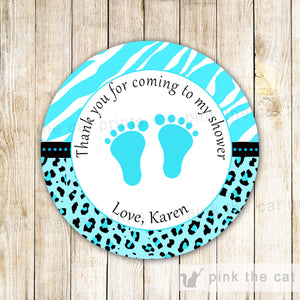 Turquoise Zebra Unisex Baby Shower Thank You Label Sticker Tag