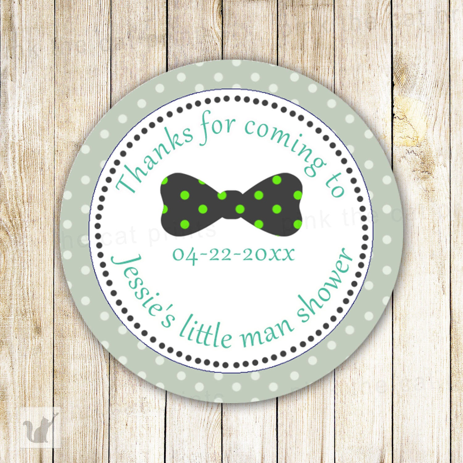 Sage Green Bow Tie Baby Shower Thank You Tags Custom Party Items