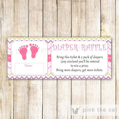 Baby Girl Shower Diaper Raffle Ticket Pink Green Chevron