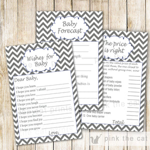 Baby Shower Games Grey Chevron Wishes for Baby Price is Right & Advice Card