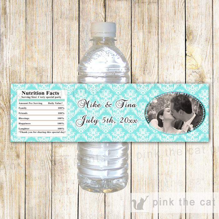 Turquoise Wedding Anniversary Photo Bottle Label