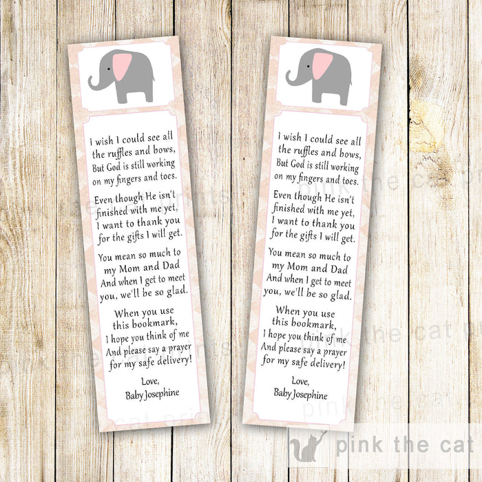 Elephant Bookmark Favor Baby Girl Shower Pink Grey