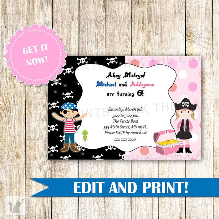 Pirates Invitation Girl Boy Kids Birthday Party