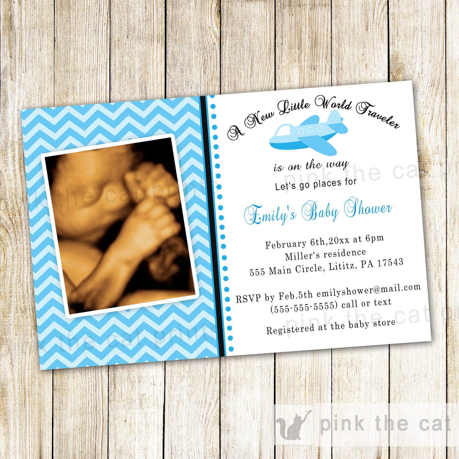 Planes Invitation Card Traveler Baby Boy Shower Photo – Pink The Cat