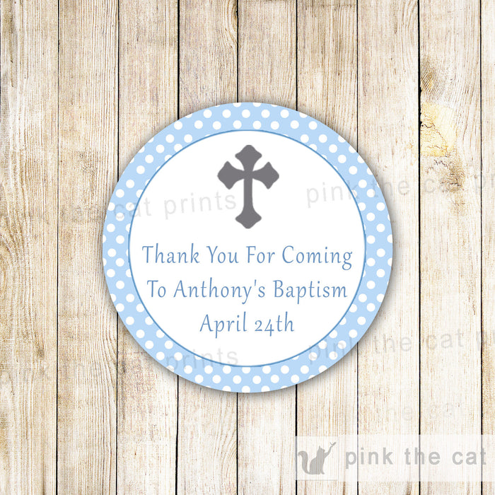 Religious favor label blue silver printable