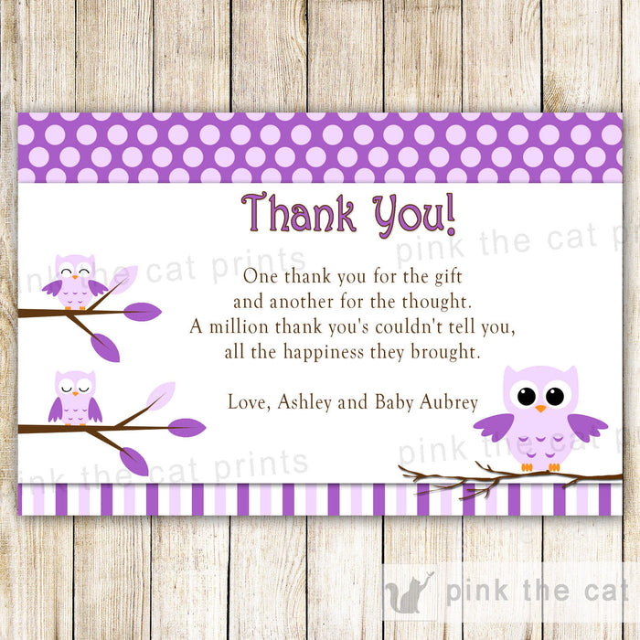 Owl Thank You Card Note Purple Birthday Baby Girl Shower