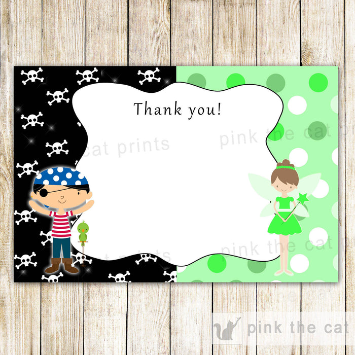 Pirate Fairy Thank You Card - Pixie Kids Birthday Party Notes Lime Green Printable INSTANT DOWNLOAD