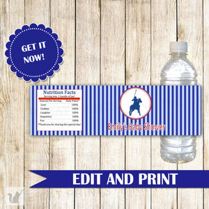 Polo Water Bottle Label Red Blue Stripes Baby Boy Shower Kids Birthday Party Decoration Printable Personalized Editable file INSTANT DOWLOAD