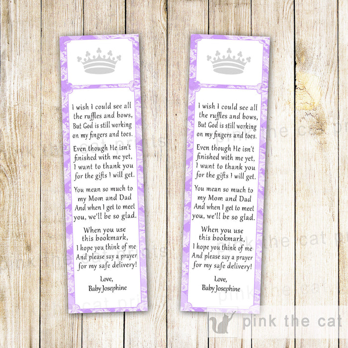 Purple Princess Baby Girl Shower Bookmark Favor