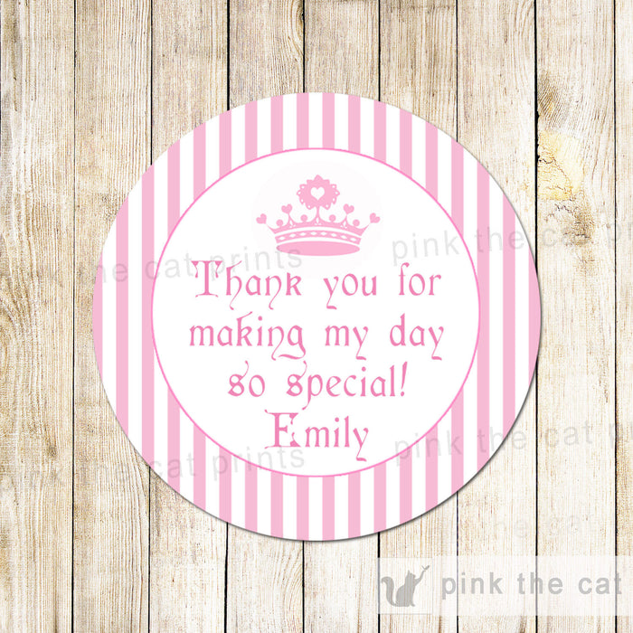 Princess Labels Sticker Gift Favor Tag Baby Shower Birthday Pink Stripes