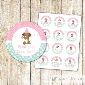 Puppy Gift Favor Labels or Thank You Tags - Kids Birthday Party Girl Party Items Mint Green Pink Editable File INSTANT DOWNLOAD
