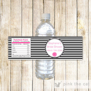 Black White Stripes Peoni Flower Bottle Label