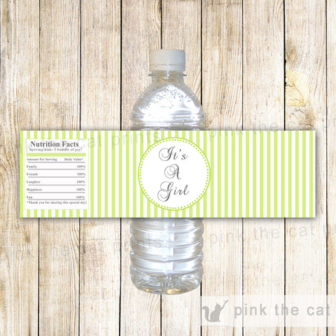 Baby Girl Shower Bottle Label Wrapper Lime Green Stripes