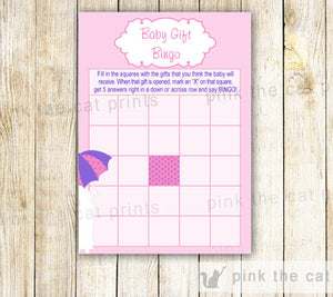 Baby Shower Games Pink Umbrella Wishes for Baby Price is Right Bingo & More