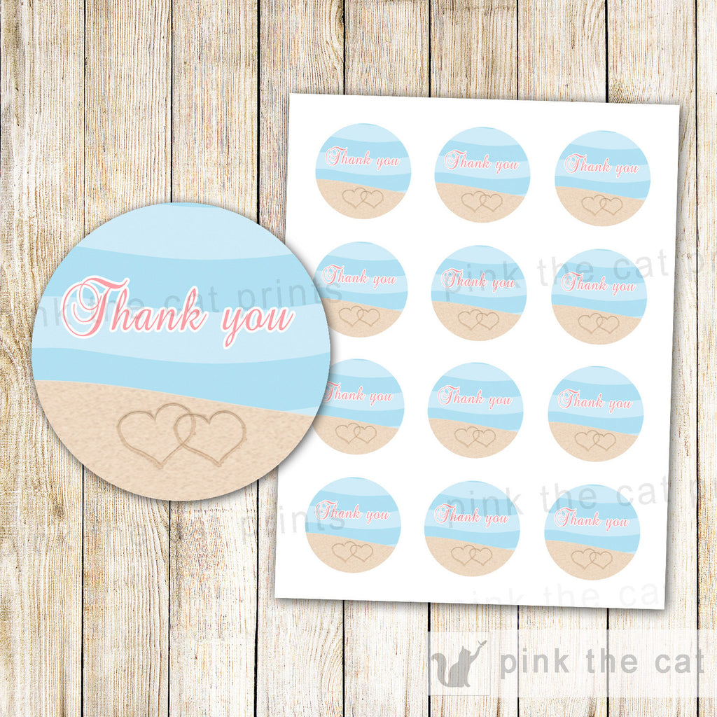 Beach Wedding Bridal Shower Tag Favor Label Thank You Sticker