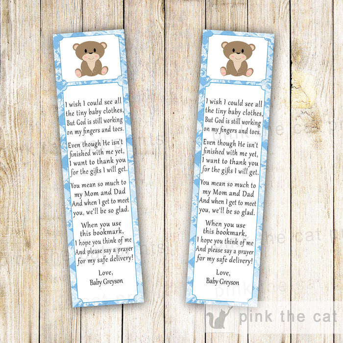 Bear Bookmark Favor Baby Boy Shower Blue