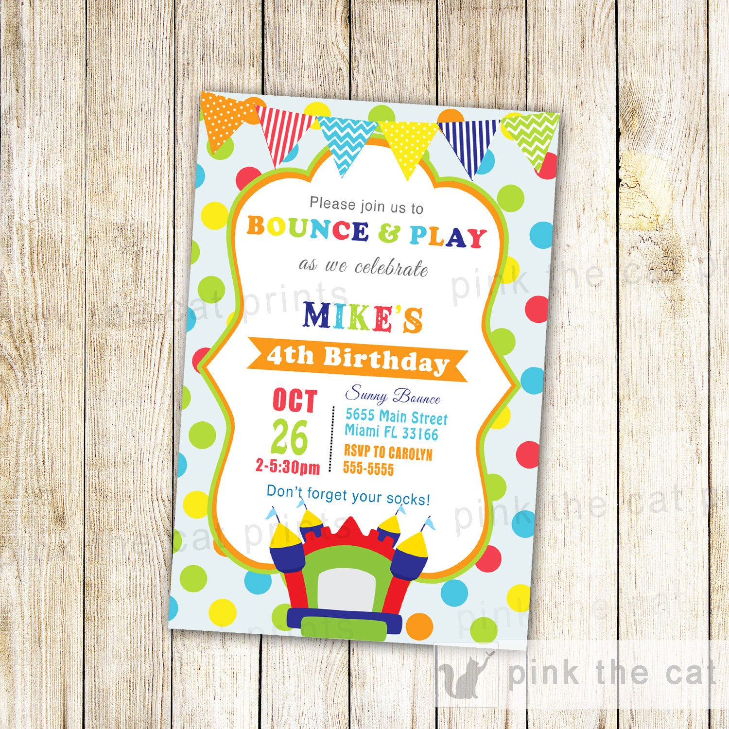 Bouncing Castle Birthday Party Invitation – Pink The Cat
