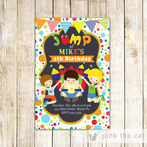 bouncing castle kids birthday invitation