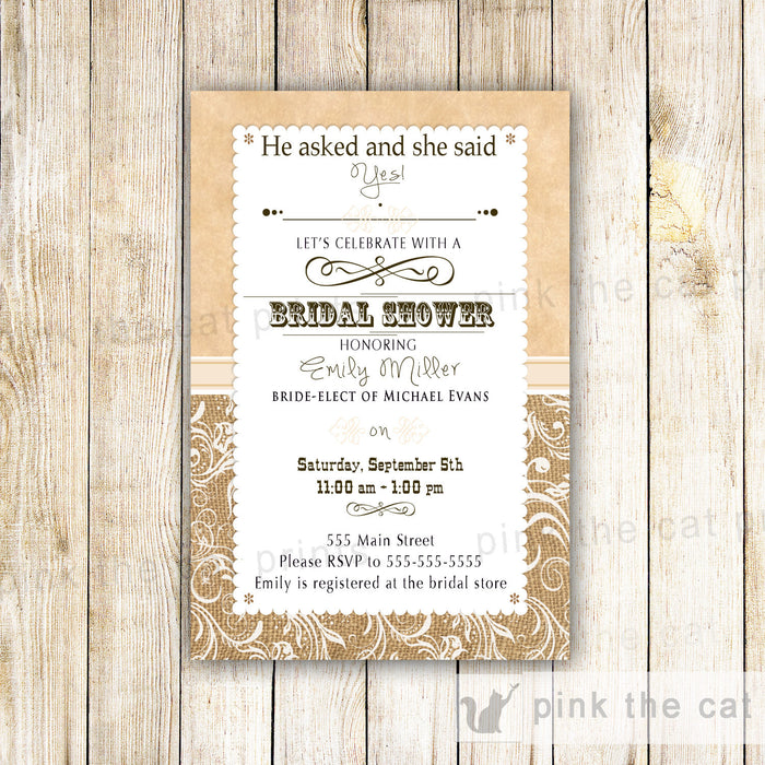 Rustic Bridal Shower Invitation Burlap Lace Wedding