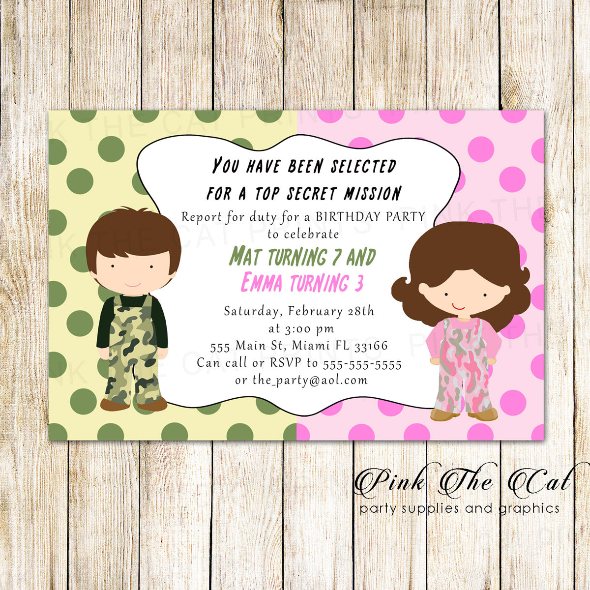 Camouflage Army Invitation Kids Birthday Party Twins Printable