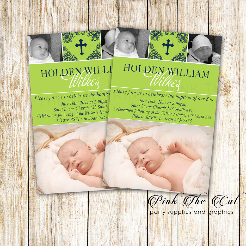 30 Baptism Christening Photo Invitation Green Black