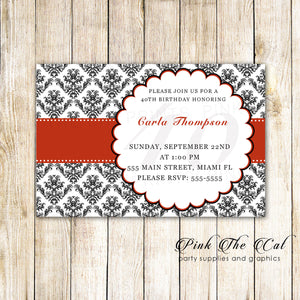 red black adult birthady party invitation