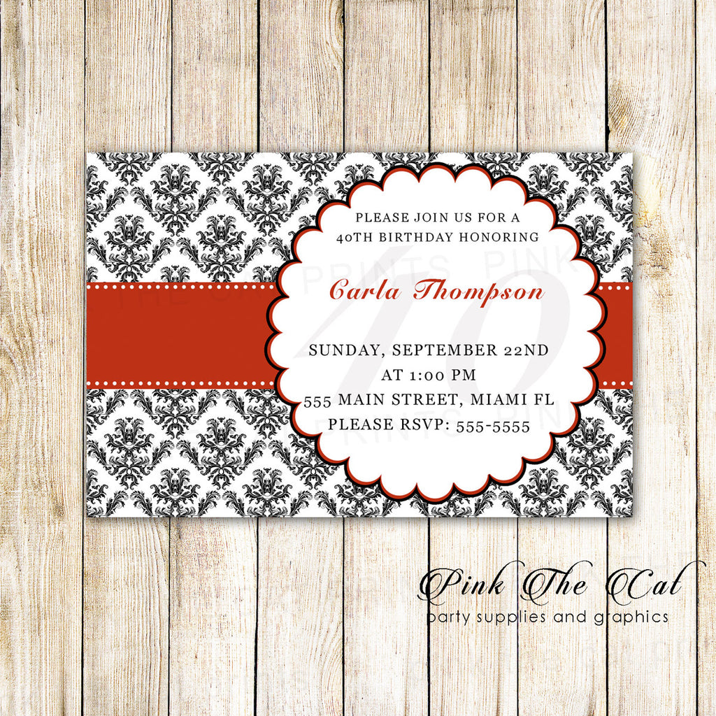 30 Invitations Adult Birthday Bridal Shower Red Black Damask