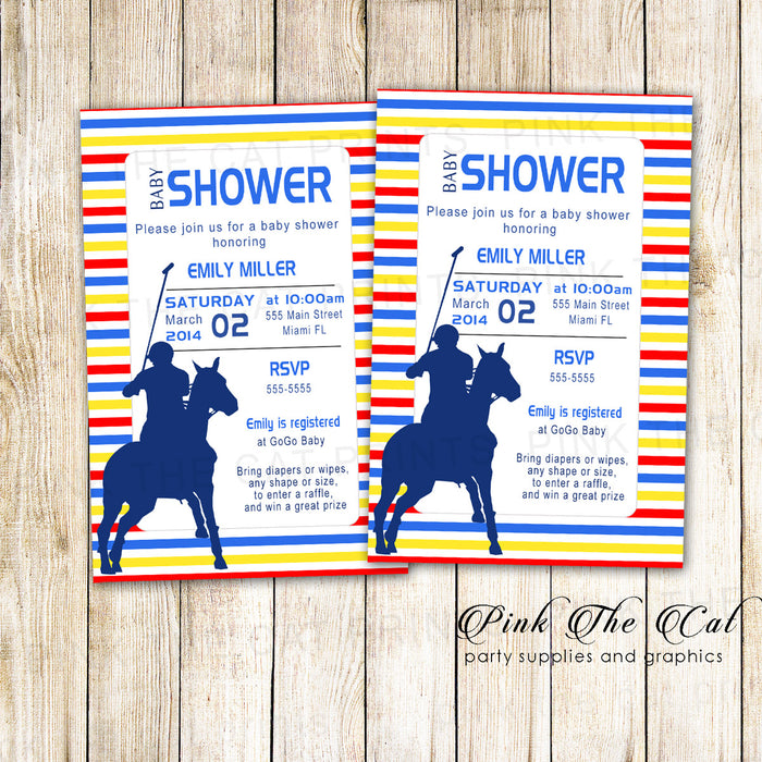 30 Polo Invitations Yellow Red Blue Baby Shower Birthday