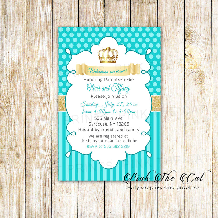 30 Invitations Prince Teal Gold Birthday Baby Shower
