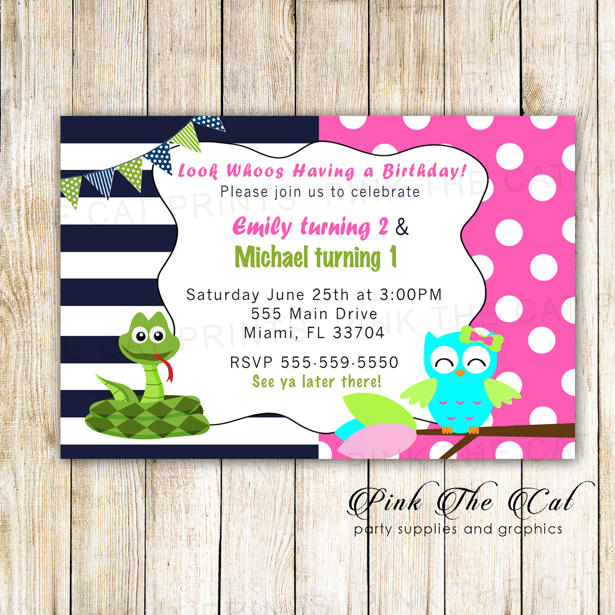 Kids Invitations Reptile Snake Owl Girl Boy Birthday Party Printable Pink The Cat