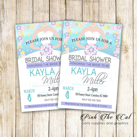 30 Cards Floral Bridal Shower Invitation Spring Summer