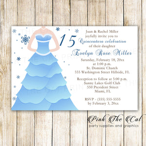 30 Cards Winter Invitations Sweet 16 Quinceanera Blue Dress