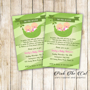 30 Cards Sweet Peas Twin Girls Baby Shower Invitations