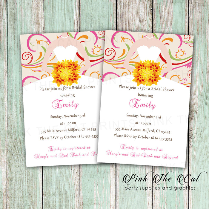 30 Swirl Bridal Shower Invitations Orange Red