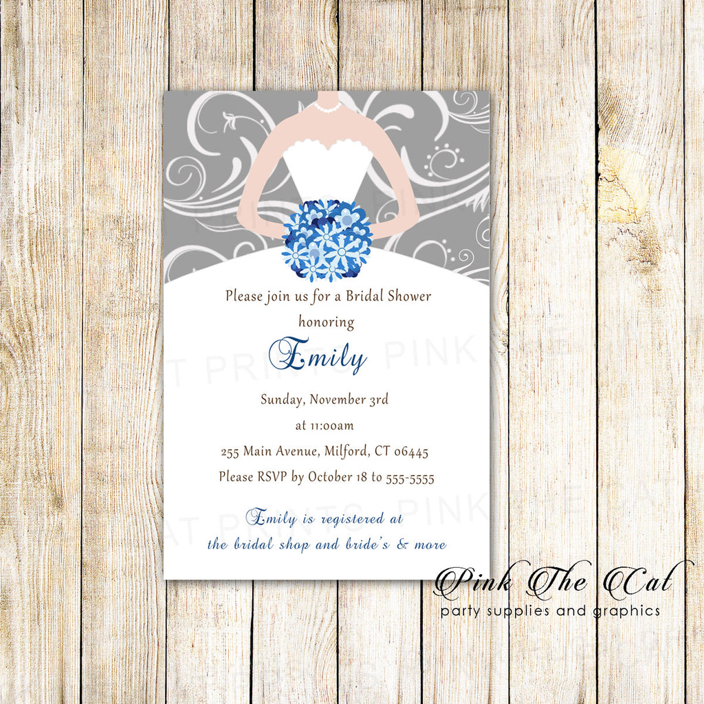 30 Bridal Shower Invitations Dress Swirl Blue Silver