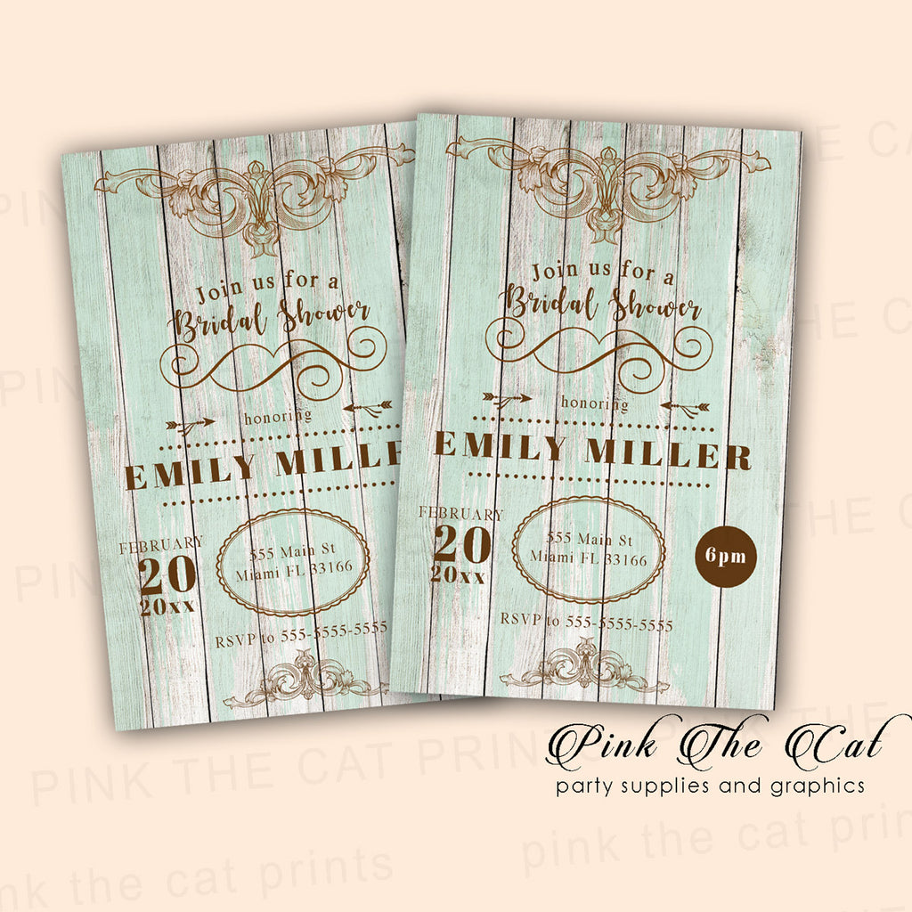 30 Wood Rustic Invitation Bridal Shower