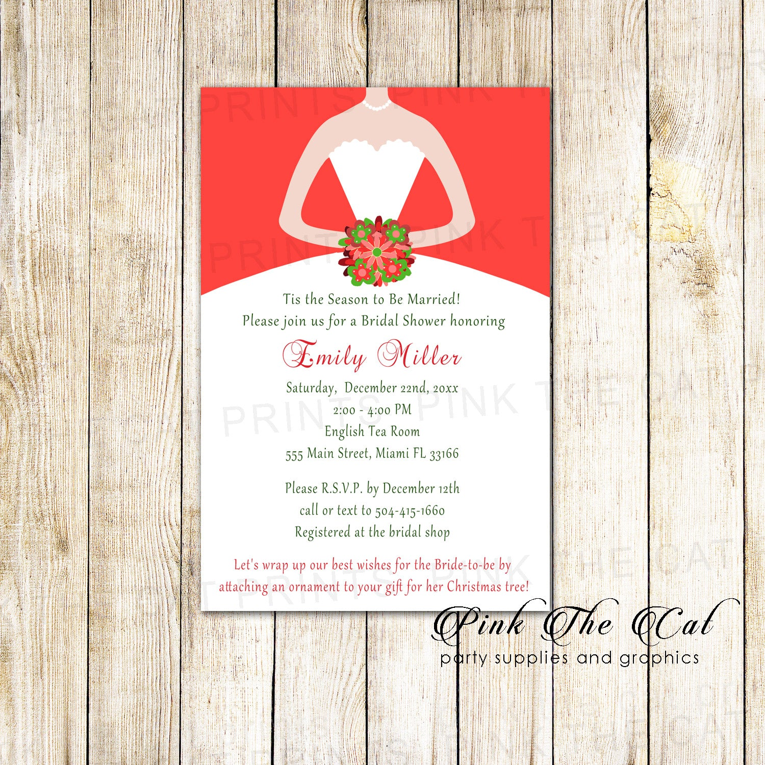 Bridal Shower Invitations Dress Christmas Red Green Printable – Pink ...