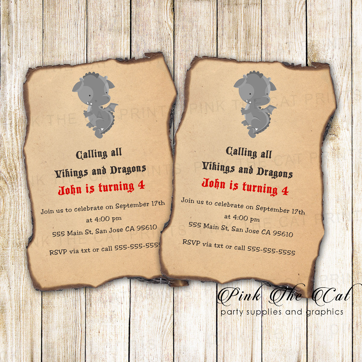 photo regarding Printable Invitation Paper named Dragon Invitation Little ones Birthday Burned Paper Printable